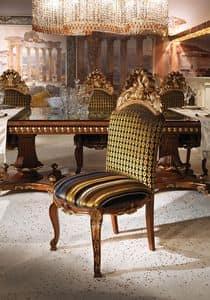 Hermitage B/2071/C, Klassischer Stuhl mit gepolstertem Sitz und Rücken