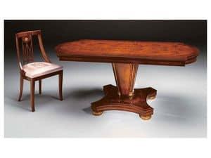 IMPERO / Stuffed chair, Klassischer Stuhl aus Holz mit gepolstertem Sitz