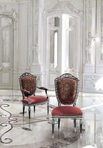 LG/500/S.LG/500/P, Klassischer Luxus Stuhl mit gepolstertem Sitz und Rücken