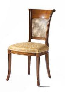 Lyon VS.1208, Walnut Stuhl, gepolsterter Sitz, Rückenlehne in Wien Stroh, für das Leben im klassischen Stil
