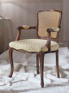 M 608, Stuhl mit gepolsterten Armlehnen, mit Stuhllehne