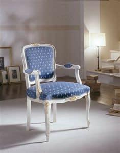 M 614, Stuhl mit gepolsterten Armlehnen und lackierten Dekorationen