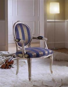 M 615, Stuhl mit gepolsterten Armlehnen mit ovaler Rückenlehne