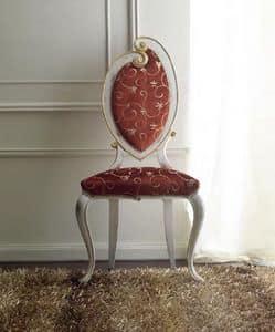 Morgana 504 Stuhl, Stuhl elegant von Hand verziert, für Esszimmer, antike weiß lackiert mit goldenen Details