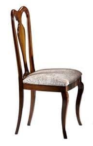 Porto Azzurro, Nussbaum Stuhl mit Rückenlehne aus Holz, für Esszimmer