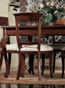 Settecento Stuhl, Polsterstuhl, aus massivem Nussbaum, poliert, klassisch