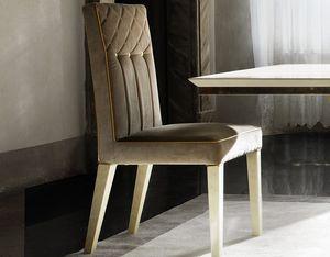 SIPARIO Stuhl, Klassischer Samtsessel mit goldenen Knöpfen