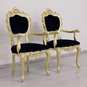 Venezia Goldgewebe, Klassischer Luxus Stuhl mit Blattgold Oberflächen und rote Stoffbespannung