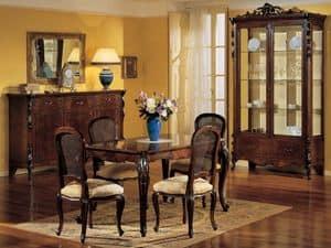 3085 TABLE, Rechteckige ausziehbaren Tisch, Luxus klassischen Stil, in Nussbaum