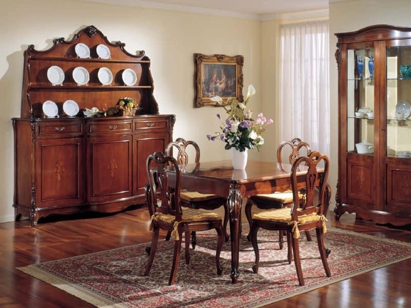 3145 TABLE, Klassische ausziehbare quadratischen Tisch, in Nussbaumholz