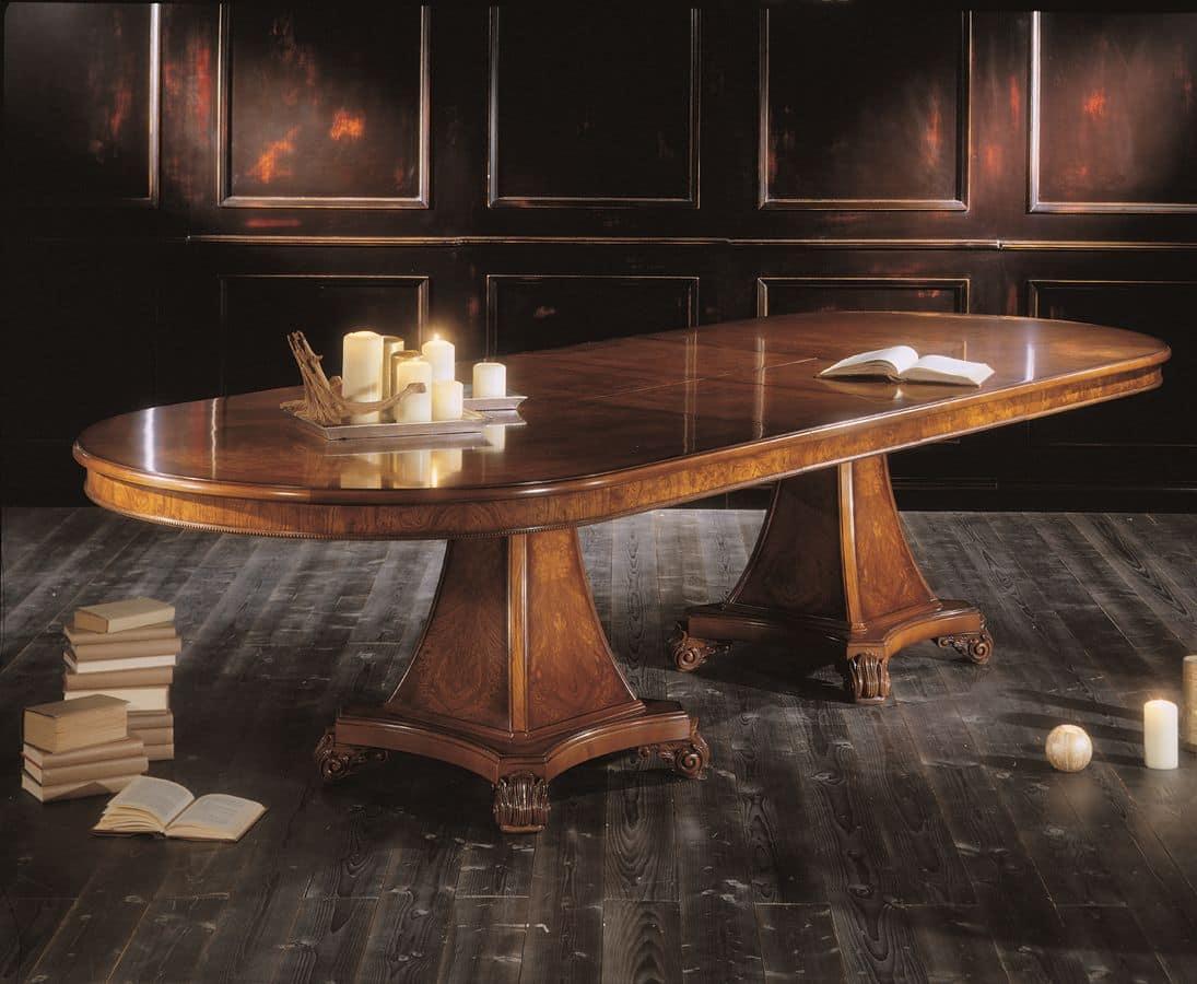 erweitern ovalen tisch furniert mit nat rlichen essenzen aus esche maser und wei nussbaum f r. Black Bedroom Furniture Sets. Home Design Ideas