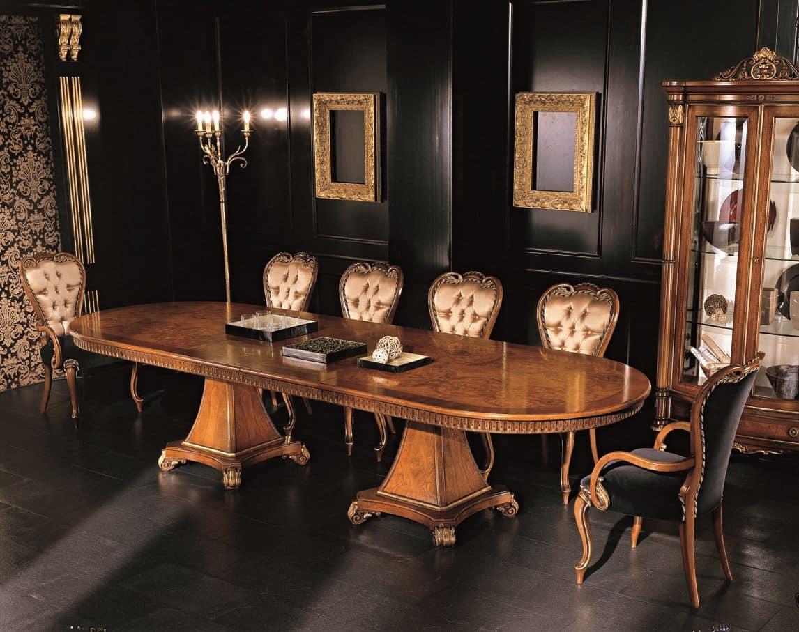 erweitern ovalen tisch mit walnuss und esche furniert f r klassische umgebungen idfdesign. Black Bedroom Furniture Sets. Home Design Ideas