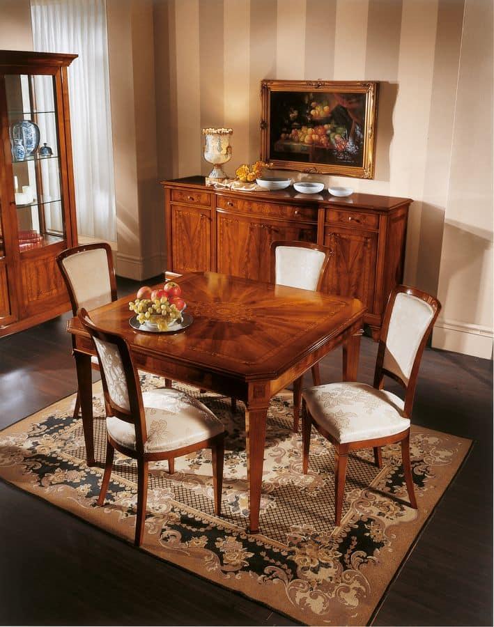platz ausziehbarer tisch mit einlage klassischen stil. Black Bedroom Furniture Sets. Home Design Ideas