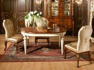 Art. 1074, Ovalen Tisch mit Nussbaum, gold Finishs