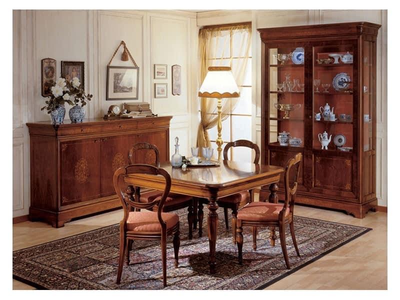 Art. 279 squared table '800 Francese, Esstische mit Beinen von Hand verziert, für klassische Möblierung