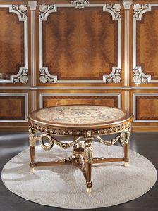 ART. 3098, Runder Luxustisch mit Einlagen in Gold