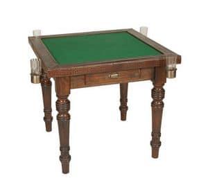 Art. 597, Kartentisch aus Holz, bedeckt in Kalbsleder