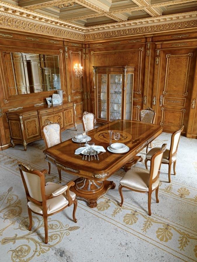 klassische geschnitzten rechteckigen tisch mit blattgold idfdesign. Black Bedroom Furniture Sets. Home Design Ideas