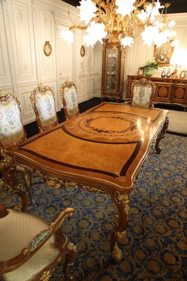 rechteckige geschnitzten tisch f r die klassische k che. Black Bedroom Furniture Sets. Home Design Ideas