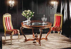 Art. 902, Klassischer runder Tisch mit Glasplatte