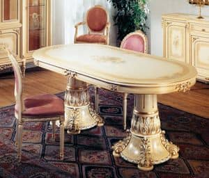 Art. L-790, Ovalen Tisch, lackiert Light Ivory patiniert, mit goldenen Details, handverziert