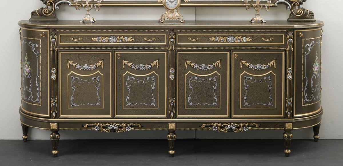 sideboard aus holz mit 2 t ren und 6 schubladen floral gold und silberschmuck klassischen stil. Black Bedroom Furniture Sets. Home Design Ideas