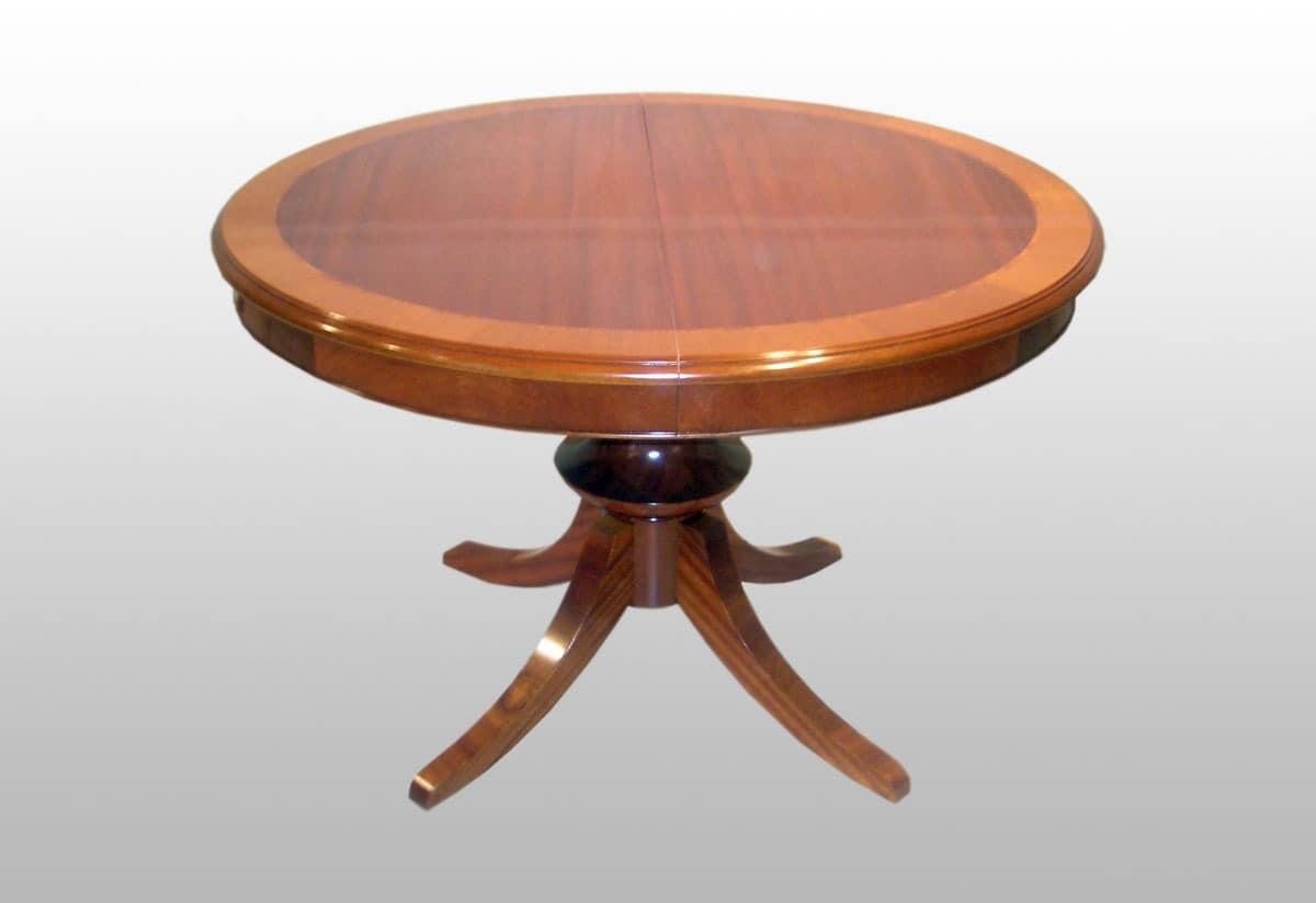 Burke, Runde Erweiterbar Klassische Tisch, Mahagoni Furniert