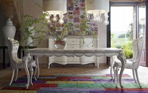 Carpi Tisch, Klassischer Tisch mit weißem und silbernem Finish