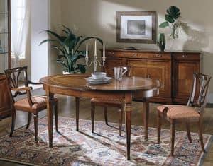 D 306, Ovalen Tisch aus Kirschholz, ausziehbar, Luxus classic