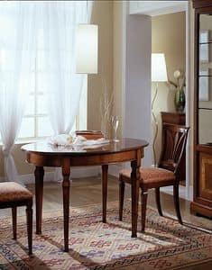 D 308, Ovalen Tisch, Kirschholz, ausziehbar, mit glatten platte