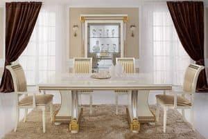 Liberty Tisch, Esstische, Luxusprodukte made in Italy, in handgeschnitzten Holz