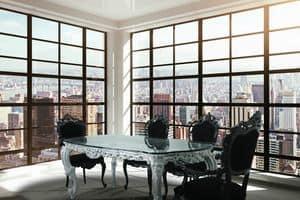 Luxury, Luxury klassischen Tisch mit Glasplatte und Silber