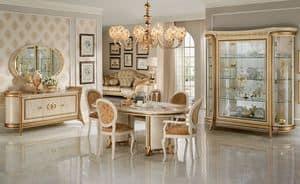 Melodia sala da pranzo, Speisesaal im klassischen Stil, mit Vitrinen, Sideboard, Tisch und Stühlen
