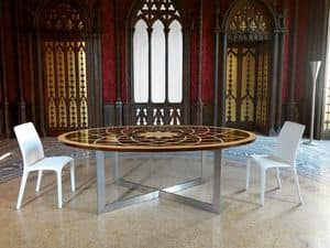 Michelangelo Tisch, Klassische ovalen Tisch, mit Holzplatte und Metallsockel