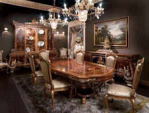 Odessa, Intarsien Esszimmer, Massivholztisch im Empire-Stil