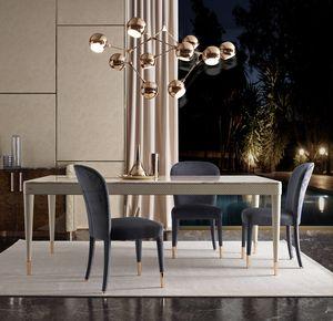 Oscar Tisch, Tisch aus Leder mit Marmorplatte