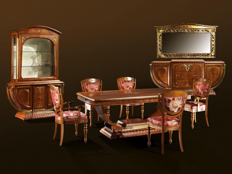 klassischen stil tisch in nussbaum veredelungen in blattgold idfdesign. Black Bedroom Furniture Sets. Home Design Ideas