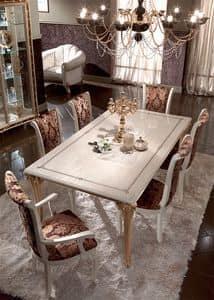 Raffaello Tisch, Klassische Esstische, in Holz verziert mit Blattgold, für renommierte Speiseräume