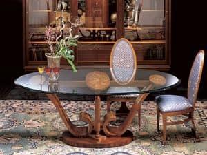 T482 Le volute, Oval Esstisch aus Holz mit Glasplatte