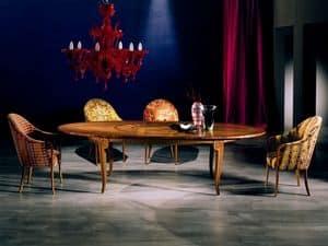 TA31 Arte, Ausziehbaren Tisch, Einlegearbeiten aus Holz, für Wohnzimmer