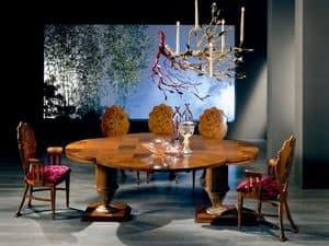 TA32 Quadrifoglio, Erweiterbar Holztisch, mit vierblättrige Kleeblatt Form