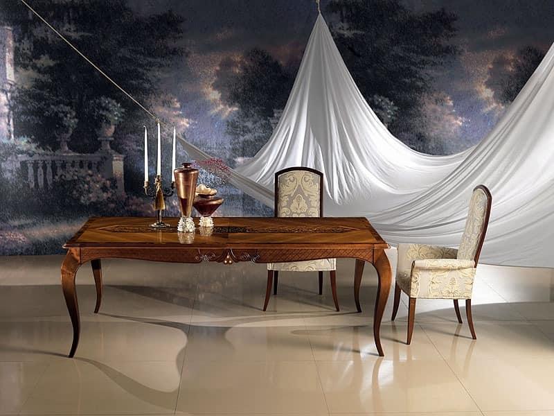 klassischer tisch mit einlage mit abgerundeten beinen. Black Bedroom Furniture Sets. Home Design Ideas