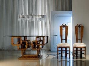 TA34 Glamour, Ovalen Tisch, Glasplatte, Gestell aus Holz Ringe