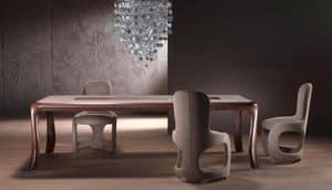 TA54 Botero, Massivholztisch, oben eingelegt mit geometrischen Thema