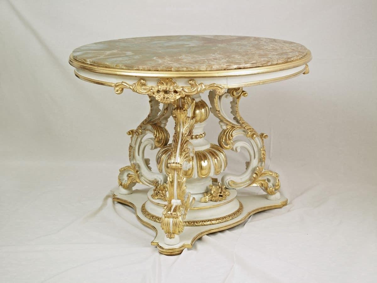 Round kleinen tisch zum zentrum halle in der art 39 700 for Marmor salontisch