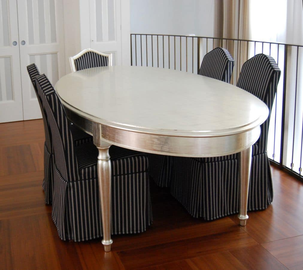 ovalen tisch mit gedrechselten beinen mit achatstein poliert idfdesign. Black Bedroom Furniture Sets. Home Design Ideas