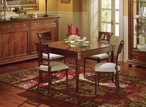 Voltaire quadratischen Tisch, Extensible quadratischer Tisch, klassisch, mit Schublade