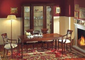 Voltaire rechteckigen Tisch, Rechteckigen Tisch in Nussbaum, mit Wachs poliert