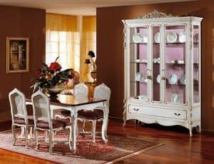 3310 SHOWCASE, Showcase aus weiß lackiertem Holz, Luxus im klassischen Stil