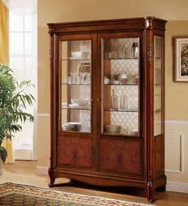 Alice Schaufenster, Klassische Nussbaum Vitrine mit 2 Türen, feinen Einlegearbeiten
